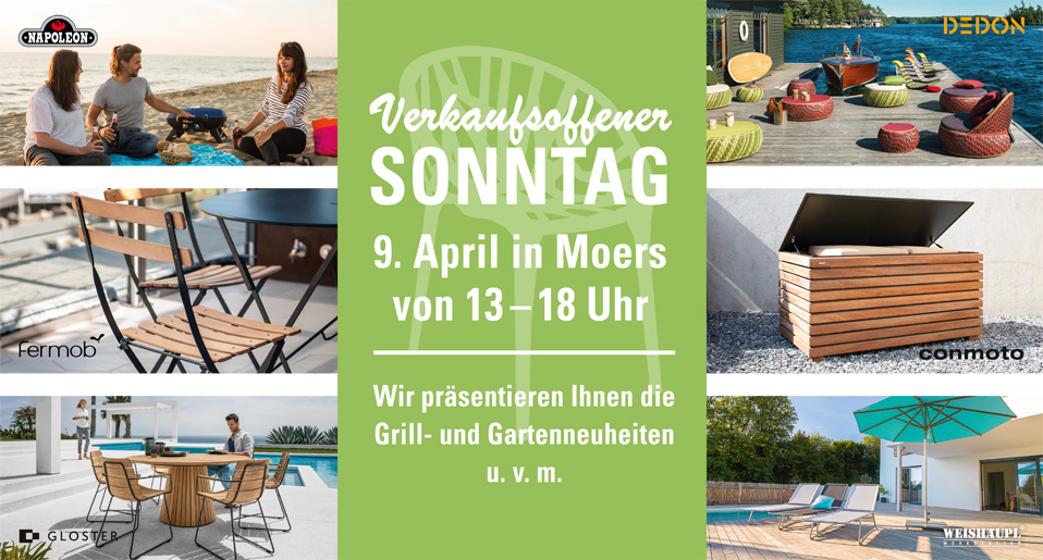 verkaufsoffener sonntag 9 april in moers von 13 18 uhr drifte wohnform. Black Bedroom Furniture Sets. Home Design Ideas